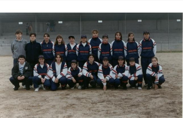 Primeiro equipo do Atlético Arousana o día que estrearon o seus primeiros chándales en Aguiño