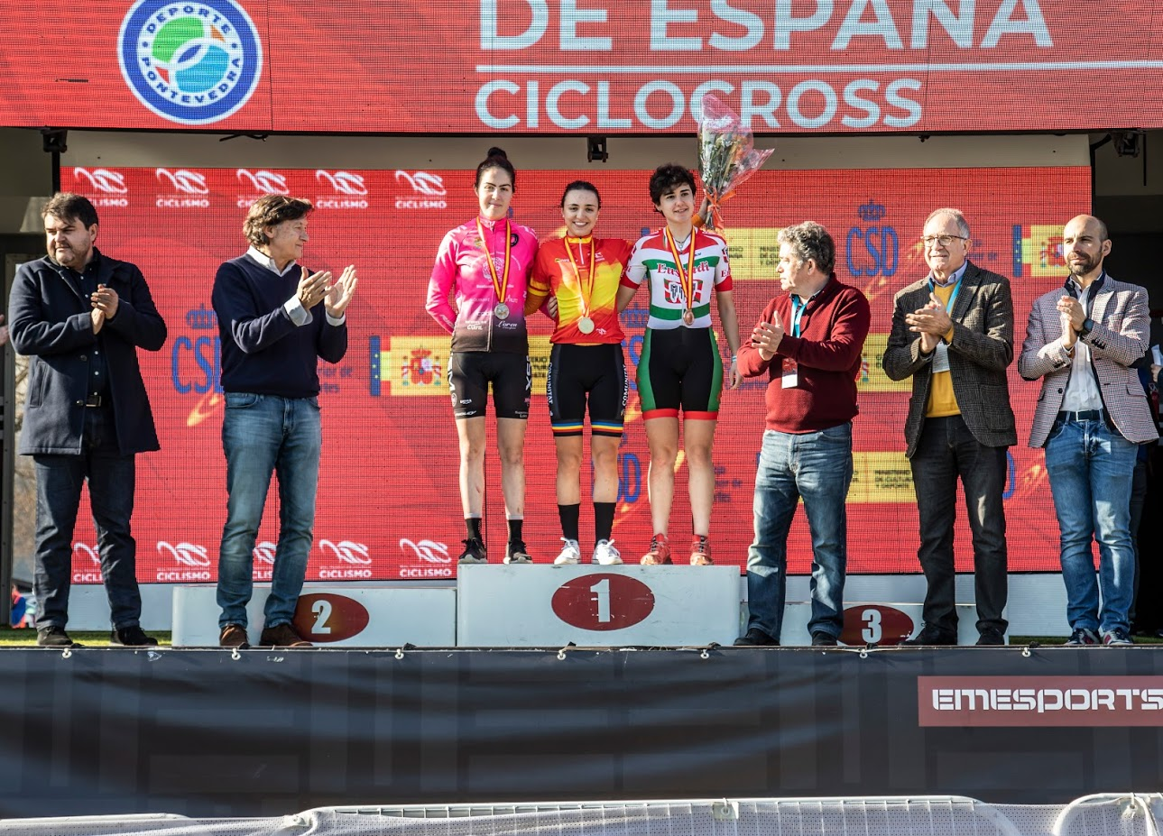 O podio da sub-23 feminina no Campionato de España de Ciclocrós / FEDERACIÓN GALEGA DE CICLISMO