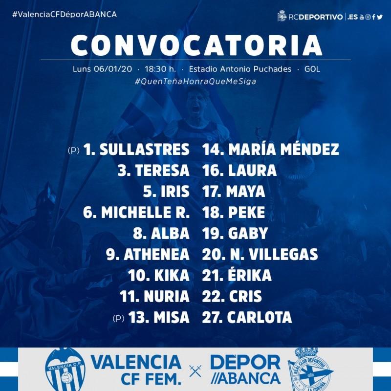 Deportivo ABANCA convocadas contra el Valencia