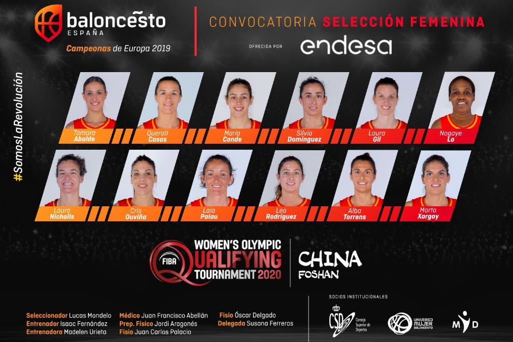 As 12 xogadoras do Preolímpico na que se encontra Tamara Abalde / FEDERACIÓN ESPAÑOLA DE BALONCESTO