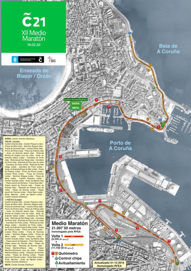 Plano do recorrido da C21 2020 / CONCELLO DA CORUÑA