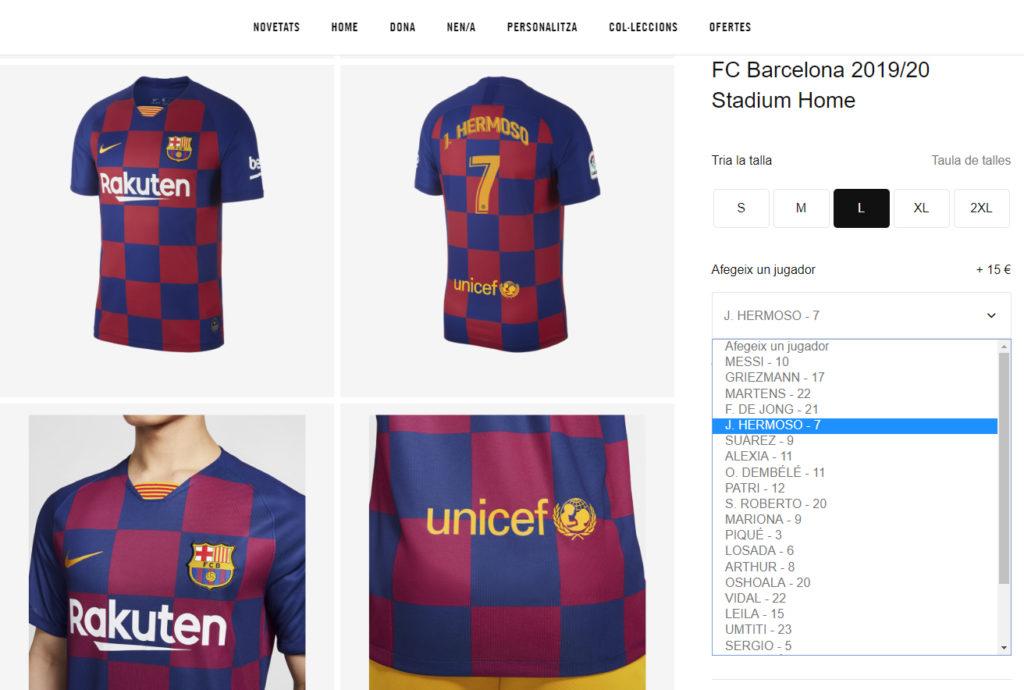 Personalización camiseta FC Barcelona / NIKE