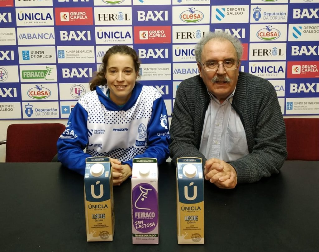 Leopoldo Ibáñez,presidente, e Patri Benet, xogadora / BAXI FERROL