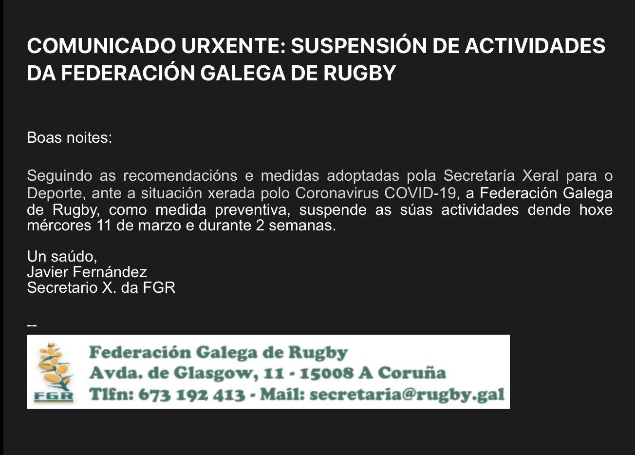 Comunicado Federación Galega Rugby | FGR