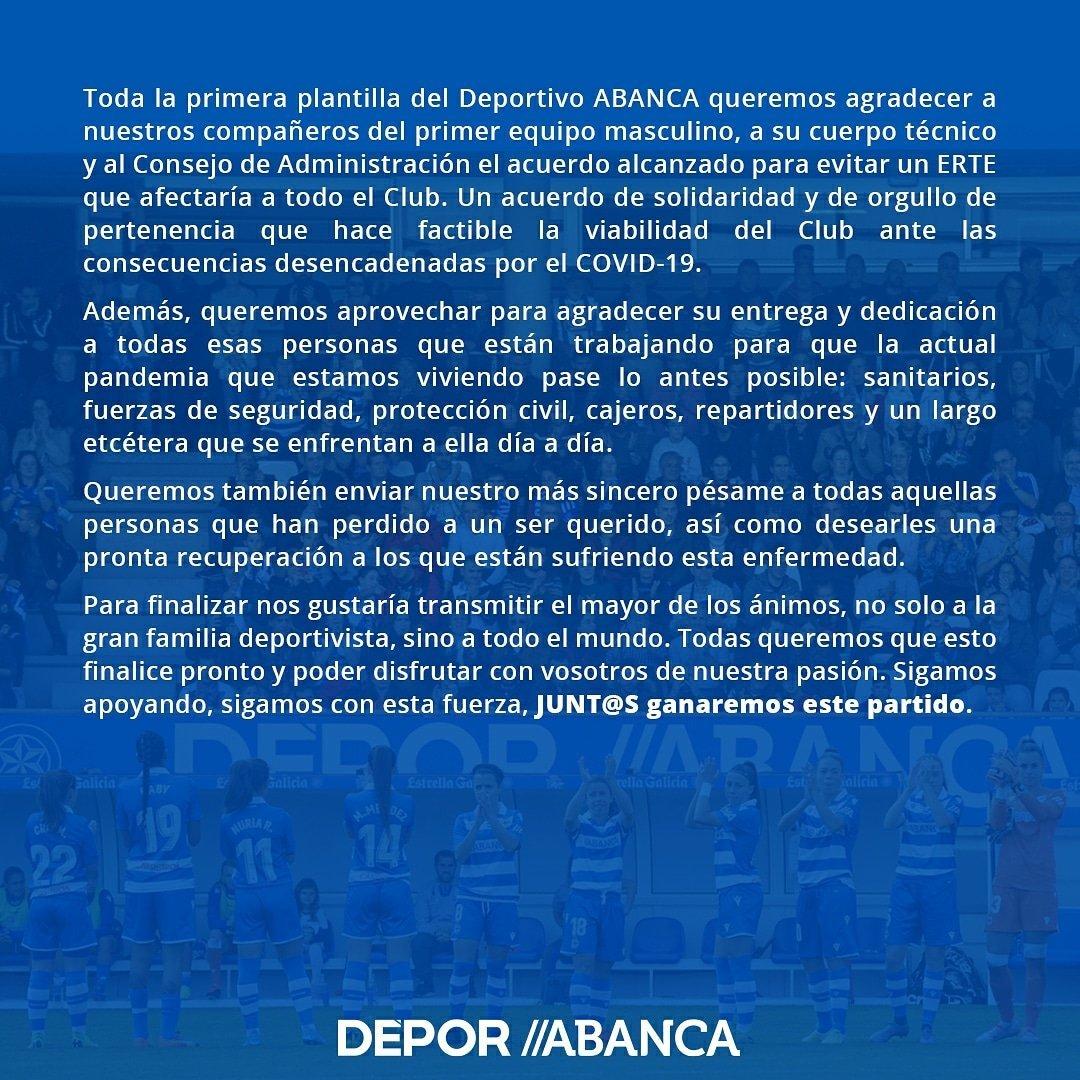 Comunicado Deportivo ABANCA | RCD