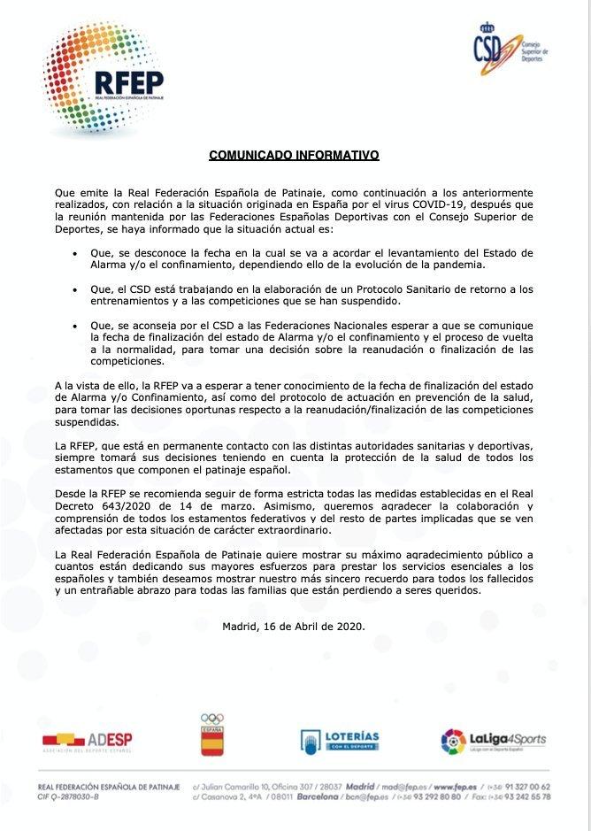 Comunicado da Federación Española de Patinaxe | FEP