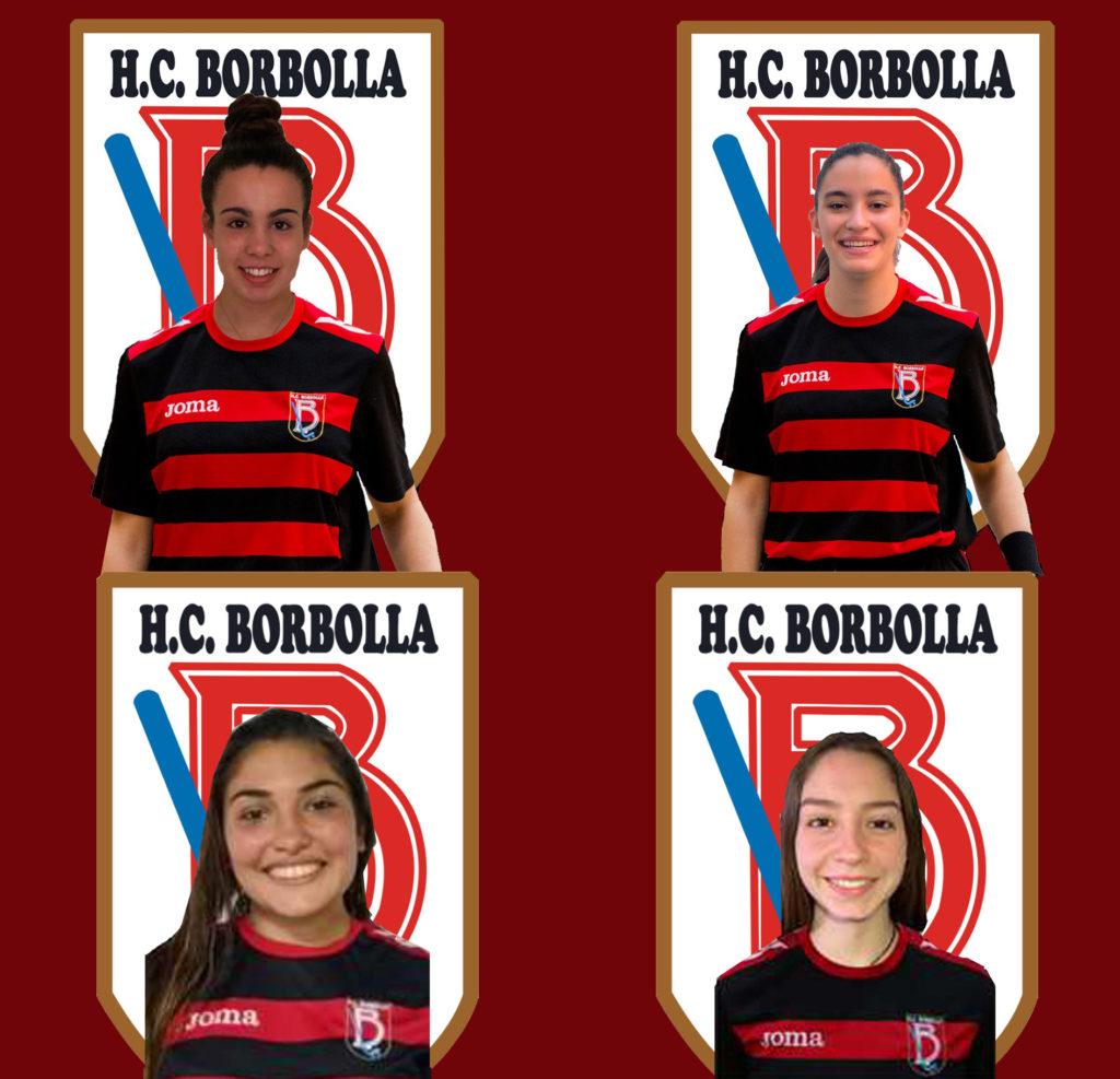 As catro fichaxes do HC Borbolla OK Liga 2020-21: Marta vilas, Antía Rivadas, Florencia de Girolamo e Fernanda Muñoz