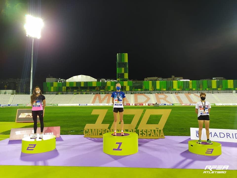 Ouro da marchadora Antía Chamosa da Sociedad Gimnástica Pontevedra nos 10.000 m marcha no 100 campionato de España Absoluto ao aire libre 2020 / RFEA