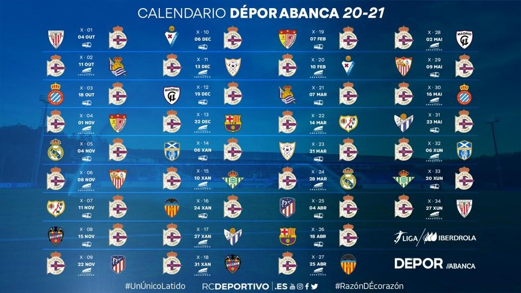 Calendario Depor Abanca tempada 20/21