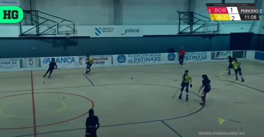 Captura de la transmisión de Hockey Global en YouTube del partido HC Borbolla - CP Alcorcón