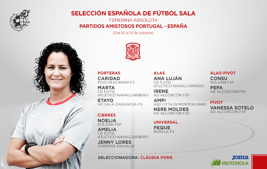 Selección Española de fútbol Sala, convocatoria de Clàudia Pons / RFEF
