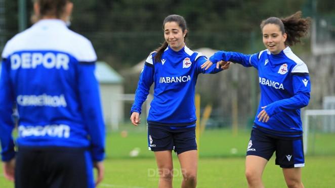 Eva Dios e Carlota Sánchez, fútbolistas do Dépor ABANCA B / RCD