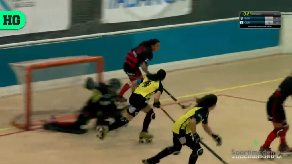 Captura de la transmisión de Hockey Global en YouTube do partido HC Borbolla - Cuencas Mineras