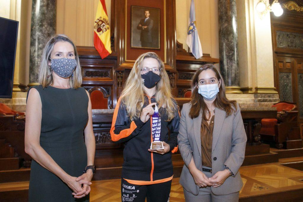 Recepción da alcaldesa do Concello da Coruña, Inés Rey e a concelleira de Deportes, Mónica Martínez, ao Viaxes Amarelle FSF / CONCELLO DA CORUÑA