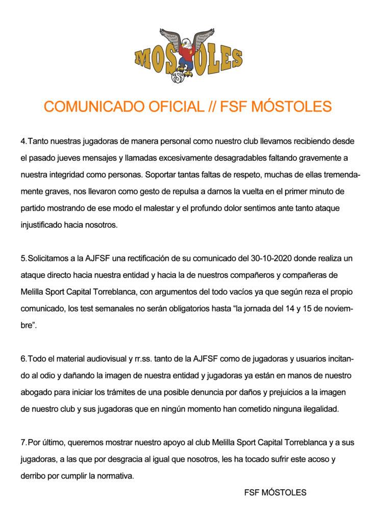 COMUNICADO OFICIAL // FSF MÓSTOLES