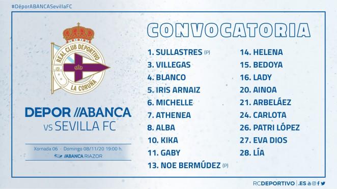 Convocatoria Dépor ABANCA vs Sevilla en Riazor