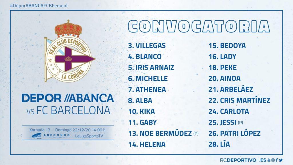 Convocatoria Dépor ABANCA - FC Barcelona