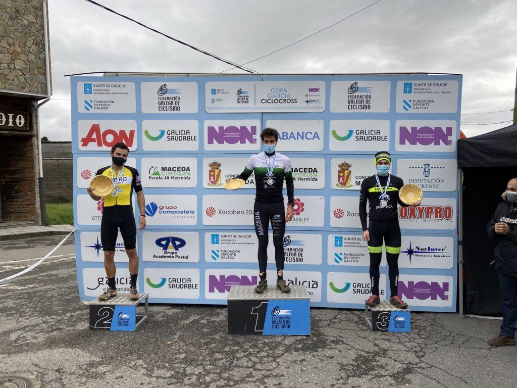 Podio elite masculina no XIII Ciclocrós Castelo de Maceda – Copa Deputación de Ourense / FGC