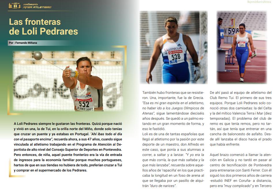A atleta galega Loli Pedrares, no libro da RFEA 'Mujeres de nuestra historia'