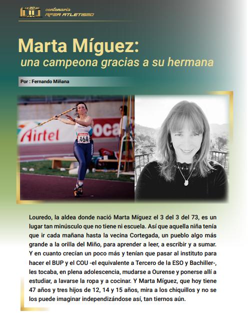A atleta galega Marta Míguez, no libro da RFEA 'Mujeres de nuestra historia'