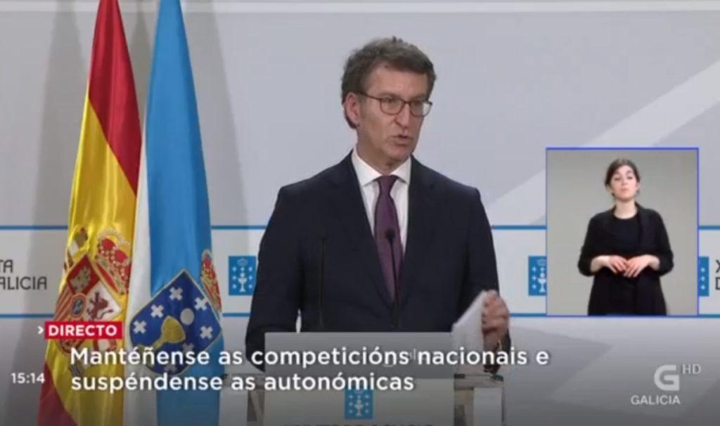 Alberto Núñez Feijóo, presidente da Xunta de Galicia, en comparecencia de prensa / TVG