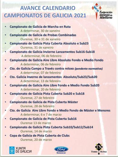 Avance do calendario de inverno da Federación galega de Atletismo / FGA