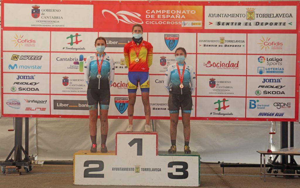 As cadetes María Filgueiras e Uxía Soto, prata e bronce respectivamente no Campionato de España de ciclocrós / FGC