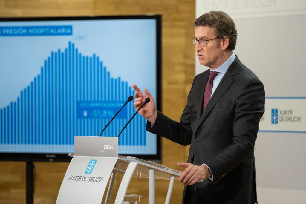 O titular do Goberno galego, Alberto Núñez Feijóo, na rolda de prensa posterior á reunión do comité clínico / XUNTA DE GALICIA