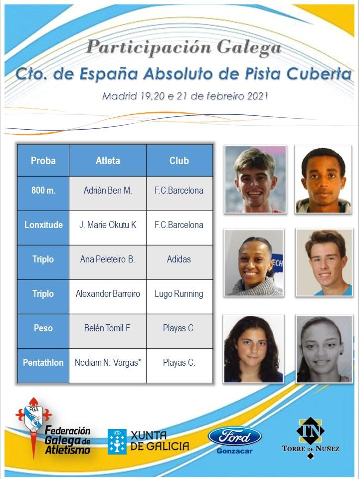 Atletas galegos no Campionato Absoluto de Pista Cuberta / FGA