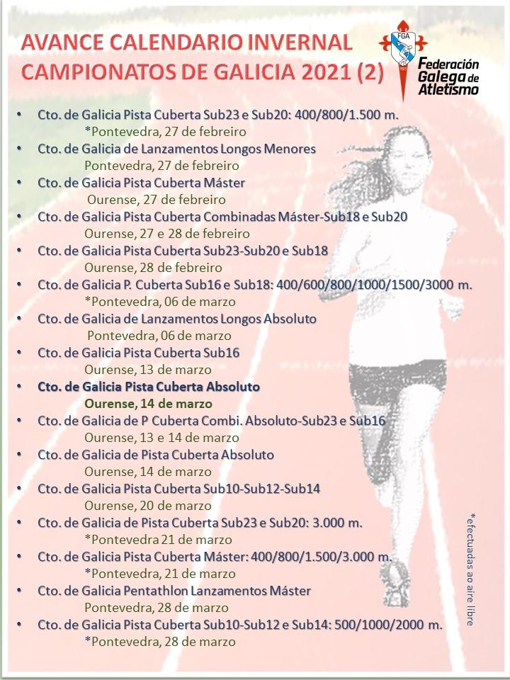 Calendario 2021 do Atletismo Galego / FGA