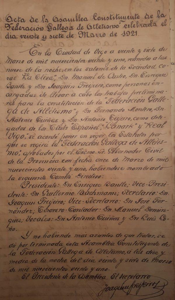 Acta constitucional da Federacion Galega de Atletismo / FGA