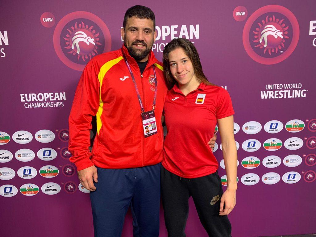 Lydia Pérez e Jose Cuba, no Campionato Europa loita / FEGALOITA