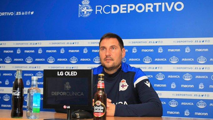 Manu Sánchez, adestrador do Dépor ABANCA en rolda de prensa / RCD