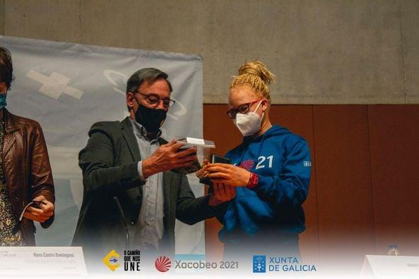 Adi Iglesias, na presentación de 'O Camiño que nos une' / ATALAYA COMUNICACIÓN