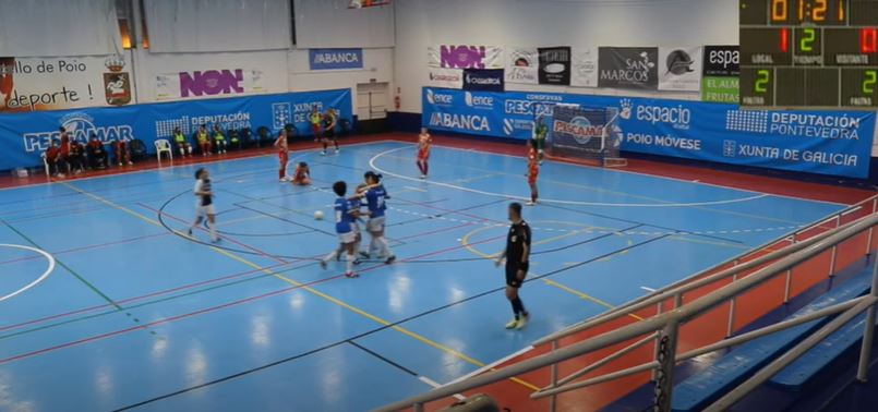 O Melilla celebra o gol ante o Poio / POIO PESCAMAR YT