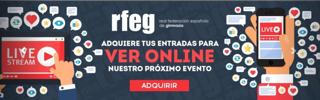 Captura da publicidade do 'streaming' da Real Federación Española de Ximnasia / RFEG