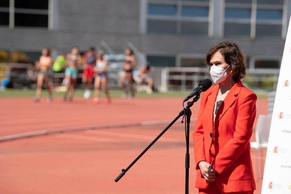 A Vicepresidenta primeira do Goberno de España, Carmen Calvo, na presentación do Plan de Profesionalización da Liga de Fútbol Femenino, Liga Ellas / MONCLOA