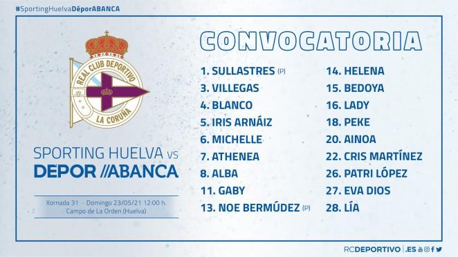 A convocatoria do Dépor ABANCA ante o Sporting Huelva / RCD