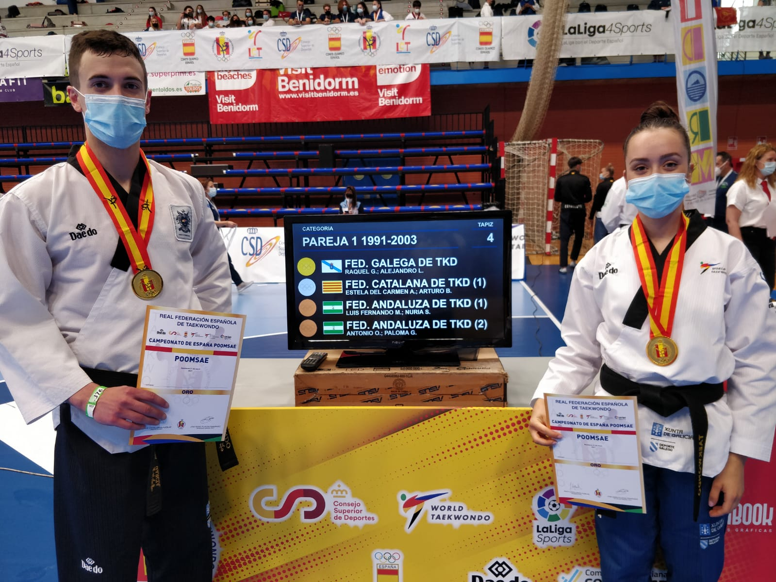 Ouro en parella da Selección Galega de taekwondo no Campionato de España / FG TAEKWONDO