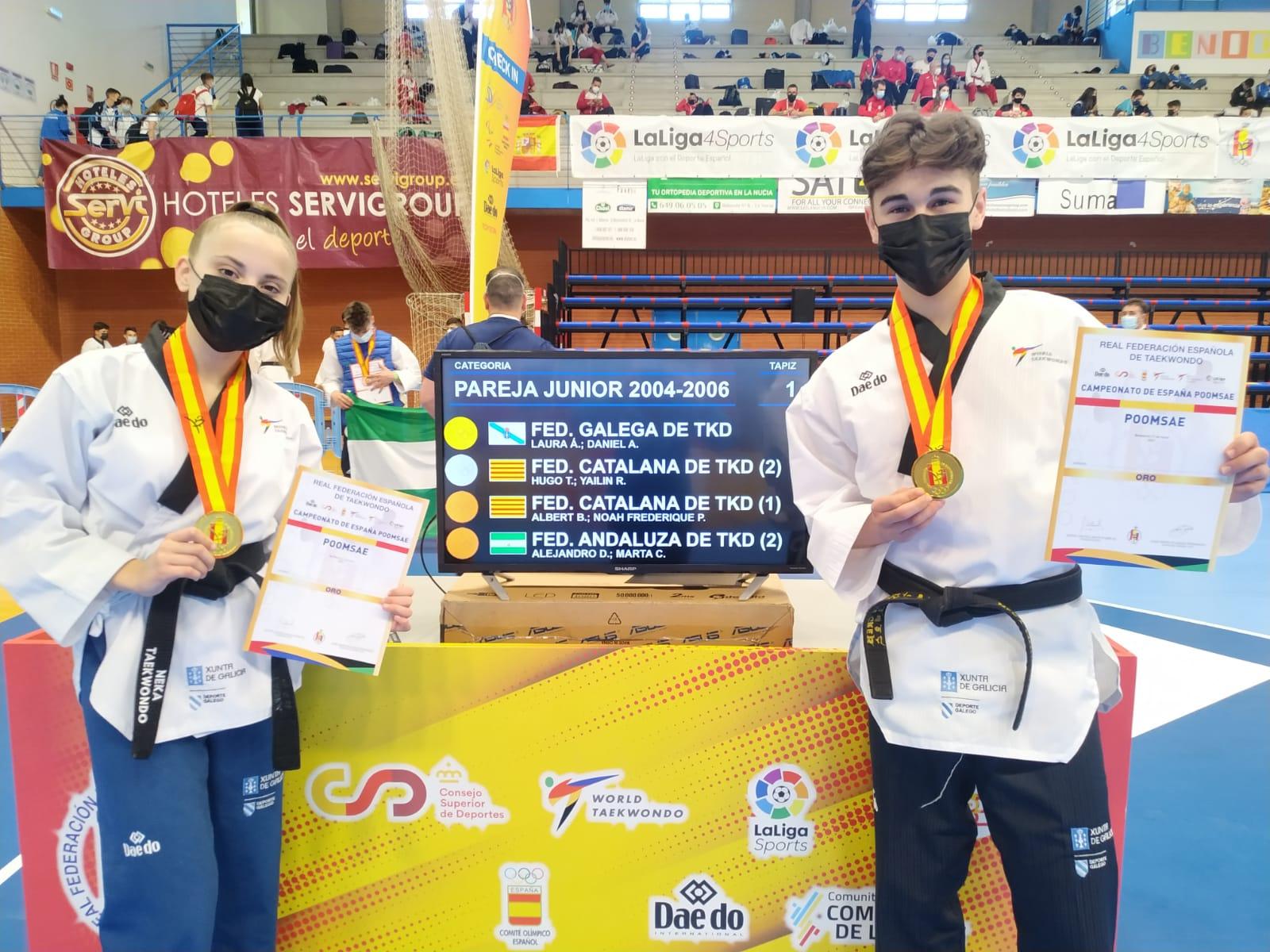 Parella júnior da Selección Galega de Taekwondo no Campionato de España / FG TAEKWONDO
