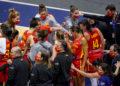 Raquel Carrera, Tamara Abalde e Paula Ginzo no partido Francia vs España / FEB