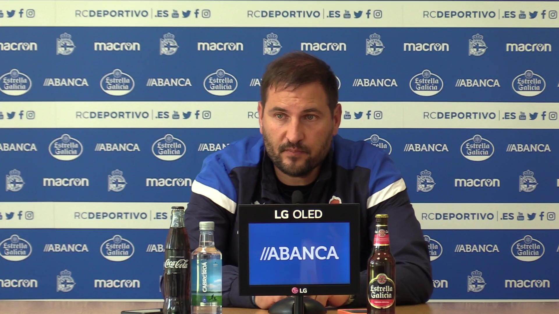 Manu Sánchez, adestrador do Dépor ABANCA, en rolda de prensa / RCD