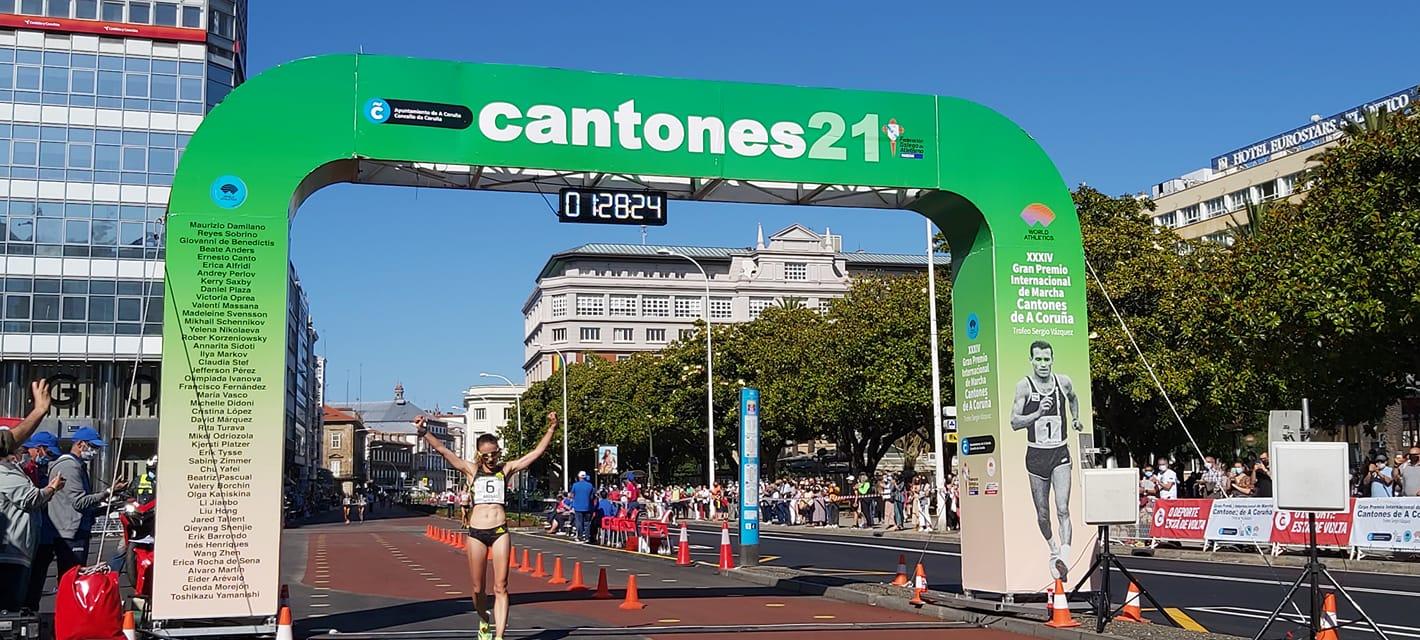 Sandra Arenas cruzou a meta do GP Cantóns de marcha da Coruña 2021 en primeiro lugar / GP CANTONES
