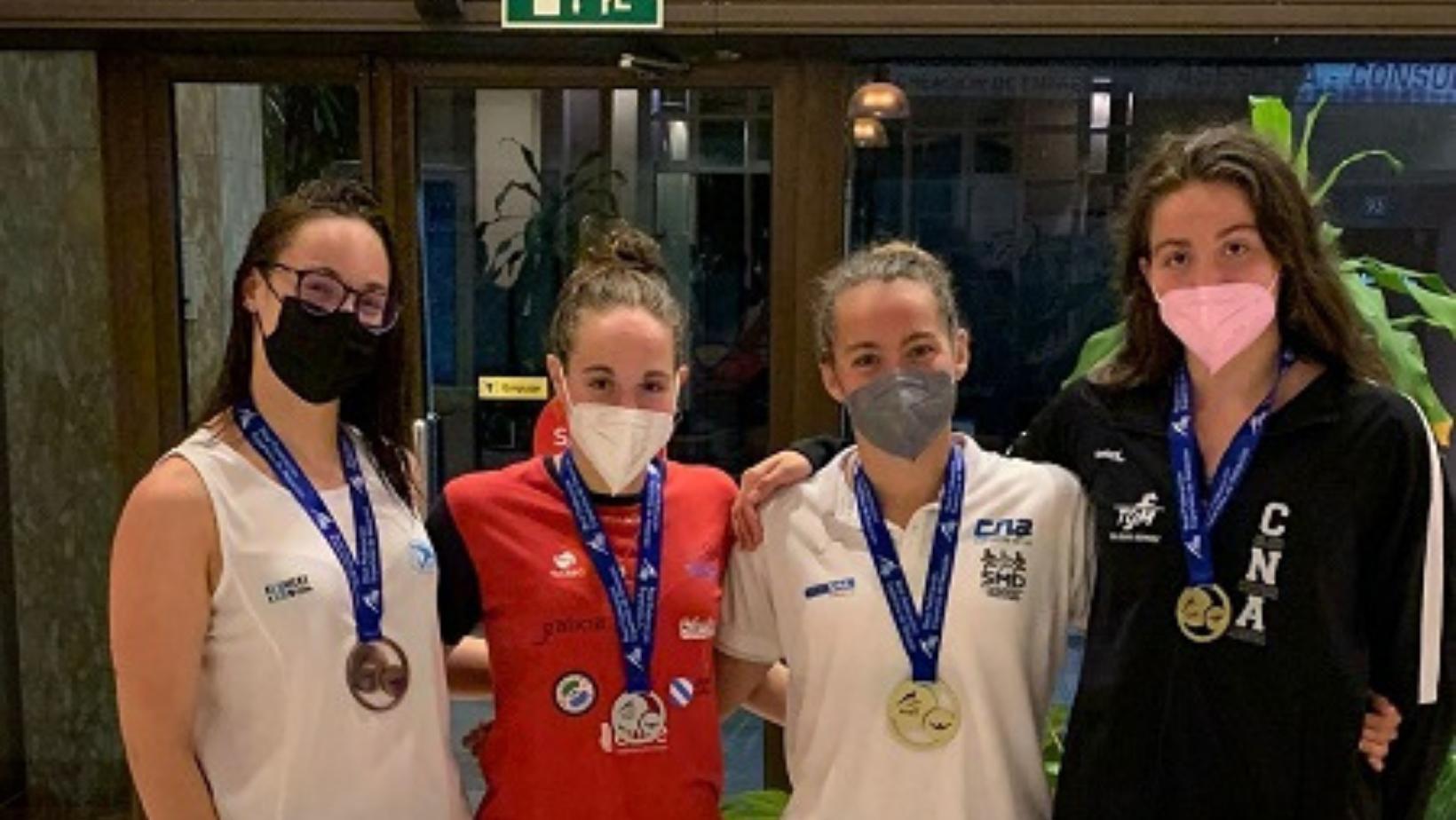 Paula Otero, Ana Cernadas, Carla Carrón e Alicia Bouzas no Campionato de España de verán por Galicia / FEGAN