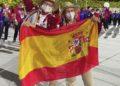As atletas galegas Desirée Vila e Adiaratou Iglesias durante a cerimonia de inaguración dos Xogos Paralímpicos Tokyo 2020 no Estadio Olimpico / IG ADI IGLESIAS