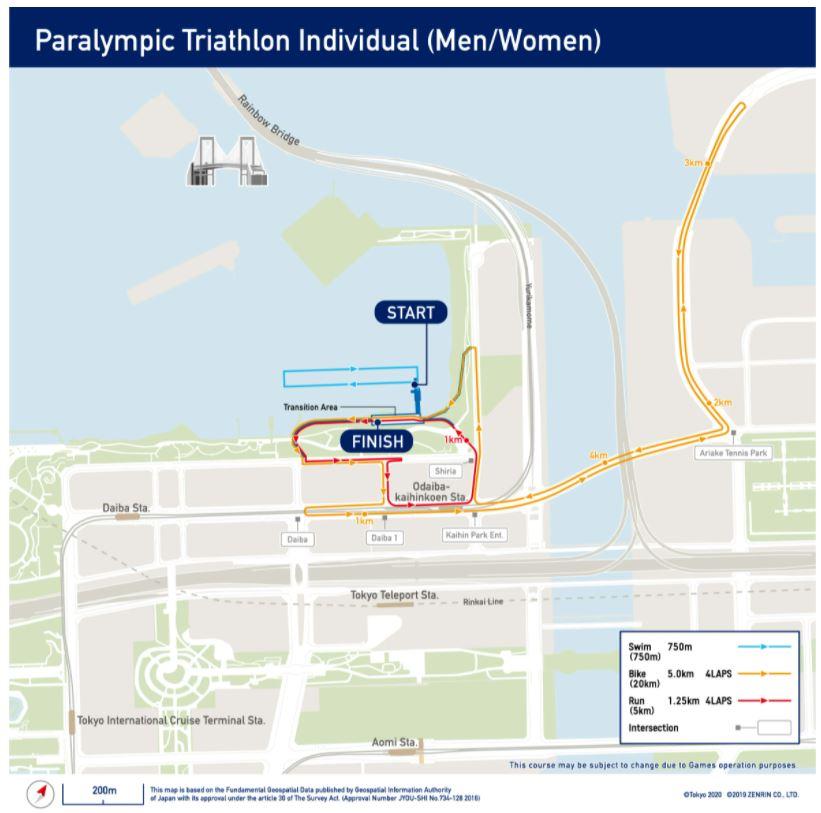 Mapa do recorrido da proba de Tríatlon de Tokyo 2020 na que participa Susana Rodríguez Gacio / OLIMPICS.COM